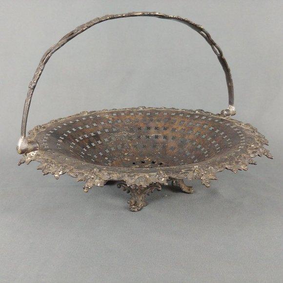 Vtg Reticulated Fruit Pedestal Basket Handle Folds